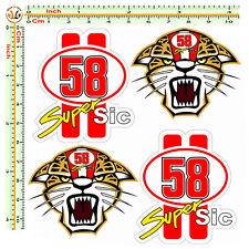 Adesivi marco simoncelli auto moto casco tigre super sic 58 sticker pvc 4 pz.