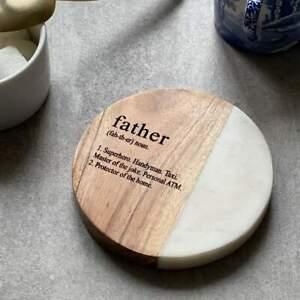 """Father"" Definition White Marble & Acacia Coaster"