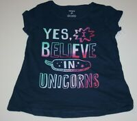 New Carter's  Girls Top Yes I Believe in Unicorns Glitter Graphic Tee 2T 3T 4T 6
