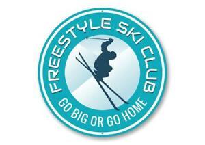 Freestyle Ski Club Ski Lodge Decorative Sign, Skier Novelty Gift Metal Sign