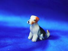 Vintage porcelain wire Fox terrier Parsons Rascal dog sitting down Precious Dog!