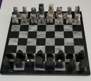 Stone Marble & Onyx Chess Set Aztec Mayan Design 32 Pc Hand Carved