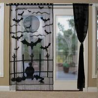 Black Halloween Lace Window Curtain Panel Halloween Holiday Party Home Door Deco