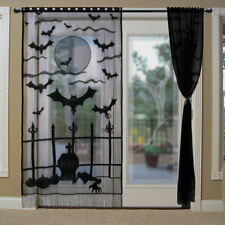 40x84 inch Halloween Window Curtains Black Lace Bats Curtains Scary Horror Decor