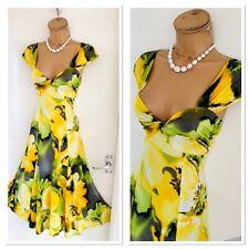 FRANK LYMAN Colourful Floral Jersey Low Plunge Floaty Dress Uk Size 10