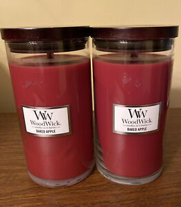 2 WoodWick Candle Baked Apple Scented 18.6 oz Crackle When Burns Fall Pie