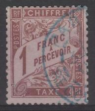 "FRANCE STAMP TIMBRE TAXE N° 25 "" TYPE DUVAL 1F MARRON "" OBLITERE TB SIGNE  N172"