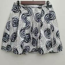 GAP Womens Skirt 2 White Blue Printed Bubble A Line Pleated