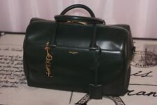 AUTH $2150 YSL Saint Laurent Forest Green Classic Duffle 6 Bag(charm Not Include