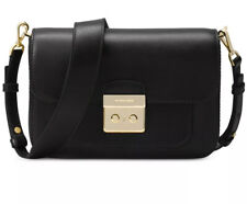 New NWT MICHAEL Kors sloan Editor leather shoulder bag black gold double strap