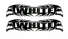 (2) WHITE CUSTOM VINYL DECALS - 5.75in WELDING HARD HAT HELMET, LUNCH BOX, TOOLS