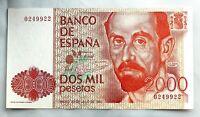 Spain-Billete. Juan Ramon Gimenez. 2000 Pesetas. 1980. Sin serie. SC/UNC