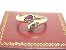 Rubin Diamant Ring 585 Gold 14 Karat  Gelbgold Goldschmuck Damenschmuck Größe 56
