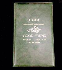 "Vintage ""Good Friend"" Dutch-Chinese Restaurant Menu Dutch & English Type"