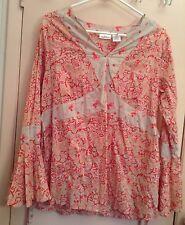 ANNOUNCEMENTS MATERNITY Pink Cotton Boho Long Sleeve Blouse Tunic Medium M 8-10