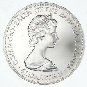 SILVER - WORLD Coin - 1973 Bahama Islands 5 Dollars - World Silver Coin *715