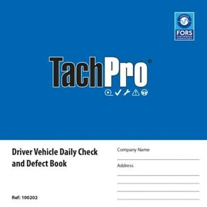 15 Vehicle Daily Check & Defect Bock 50 Page Duplicate, HGV, Tachpro