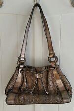 Monsac original purse handbag tote woven gold silver leather bronze satchel