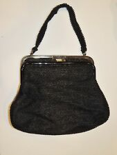 1950's Corde Bead Double Sided Black Beaded Purse