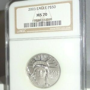 2003 US $50 1/2 Oz .9995 Platinum American Eagle Coin NGC MS70 Statue of Liberty
