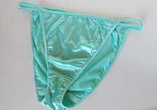 Pretty Ice Blue Silky Nylon Satin String Bikini Panties Tanga Knickers 20 3XL