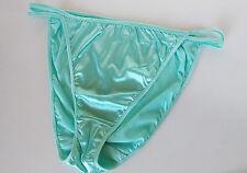 Pretty Ice Blue Silky Nylon Satin String Bikini Panties Tanga Knickers 20 3XL