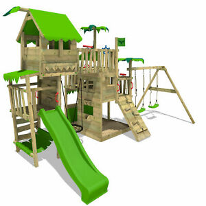 FATMOOSE PacificPearl Pro XXL Wooden ClimbingFrame Treehouse SuperSwing Slide