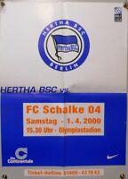 Offizielles Spielplakat + 01.04.2000 BL + Hertha BSC Berlin vs FC Schalke 04 #25