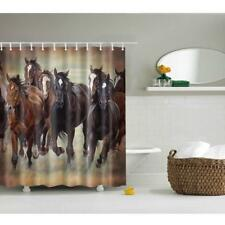 180×180cm Fabric Shower Curtain Horses Design with 12 Hooks Bath Panel #10