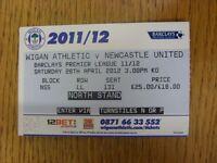 28/04/2012 Ticket: Wigan Athletic v Newcastle United  . Footy Progs/Bobfrankande