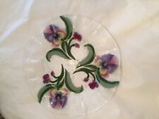 """EXC COND Sydenstricker Pansy Floral Fused Glass Serving Plate w/ Wavy Edge - 14"""""""