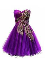 New Purple Short Peacock Cocktail Dress Bridesmaid Evening Party Wedding Gown