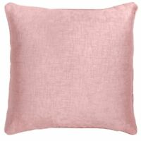 """SET OF 4 DUSKY BLUSH  PINK SOFT VELVET TOUCH TEXTURED 18"""" CUSHION COVERS £17.95"""