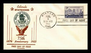 DR JIM STAMPS US COVER COLORADO STATEHOOD FDC SCOTT 1001 THERMOGRAPHED CACHET