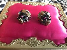 Betsey Johnson Vintage Pink Crystal AB Cluster Gold Bow Skull Rose Earrings RARE