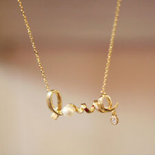"Women's 18ct Gold Plated ""Love"" Diamond & Pearl Chain/Necklace & Pendant Set"