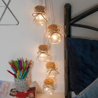 70cm Battery Power Glass Mason Jar LED Fairy Lights with Timer | Indoor Home