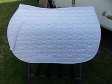 ENGLISH ALL PURPOSE SADDLE PAD HORSE WHITE QUILTED SQ.SPINE 22 FLAP 19 WIDTH 26