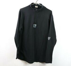 Vtg 90s Asics Mens Medium Spell Out Corium Half Zip Pullover Sweater Black USA