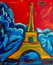 Eiffelturm Paris Winter Gemälde Acryl 60x 50cm 1976 Felix Pfefferkorn WVZ VII-46