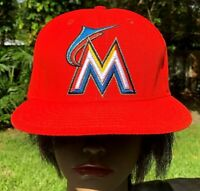 MLB⚾Baseball MIAMI MARLINS⚾3D blaze orange embroidered Cap hat fitted Sz👉8
