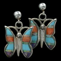 Navajo Native American Sterling Silver Turquoise Butterfly Inlay Post Earrings