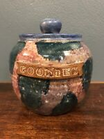 Vintage Handmade Stoneware Pottery Cookie Jar Blue Purple Green - Signed