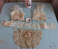 4 Pieces Of  Antique 19thC French Heirloom Handmade Lace~Doll,Bridal