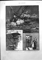 Old Antique Print Wreck Dutch Atlantic Liner W A Scholten Off Dover 1887 19th