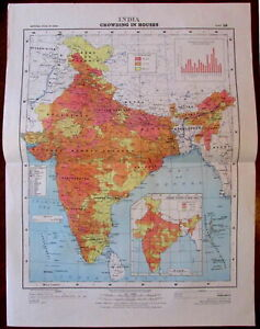 India showing Crowding in Houses Lifestyle 1978 huge National Atlas of India map