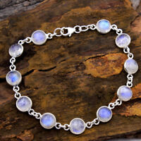 CYBER DAY SALE 925 Sterling Silver Jewelry Natural Moonstone Bracelet 7-7.5""