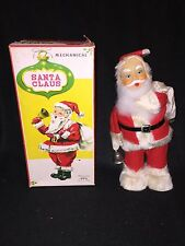 Vintage Mechanical SANTA CLAUS 50s Alps Wind up w Box WORKS tin toy bell ringer