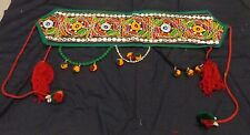 Tribal Banjara BOHO tassel Belly Dance textile green skirt waist belt hip scarf