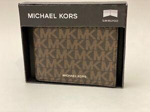 MICHAEL KORS Men Brown Leather Jet Set Slim Billfold 6 Pocket Wallet 86F1LMNF5B